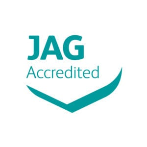 Joint Advisory Group (JAG) accreditation badge for high-quality gastrointe endoscopy services